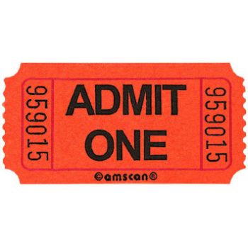 Picture of ORANGE SINGLE ADMIT ONE TICKET - 2000 PER ROLL