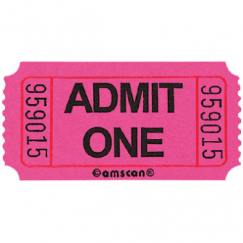 Image de PINK SINGLE ADMIT ONE TICKET - 2000 PER ROLL