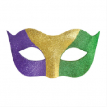 Picture of MARDI GRAS GLITTER MASK - PURPLE/GOLD/GREEN
