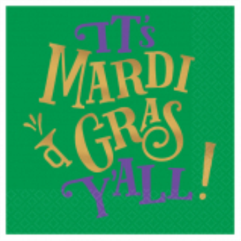 Picture of MARDI GRAS Y'ALL BEVERAGE NAPKINS - HOT STAMPED