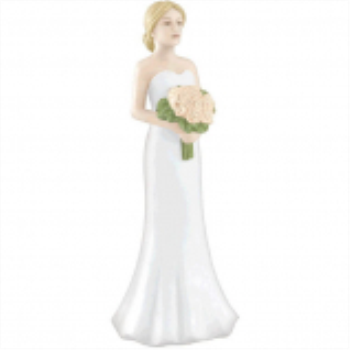 Picture of BLONDE BRIDE CAKE TOPPER WITH BOUQUET
