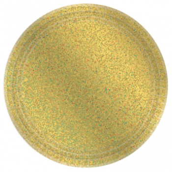 "Picture of 9"" PRISMATIC PLATES - GOLD 8CT"