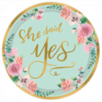 """Picture of MINT TO BE 7"""" METALLIC PLATES - 8CT - SHE SAID YES"""