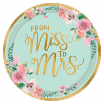 """Picture of MINT TO BE 10"""" METALLIC PLATES - 8CT - FROM MISS TO MRS"""