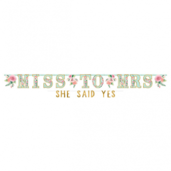 Image de MINT TO BE JUMBO LETTER BANNER - MISS TO MRS - SHE SAID YES