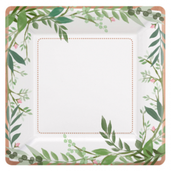 """Picture of LOVE AND LEAVES 7"""" SQUARE METALLIC PLATES - 8CT"""
