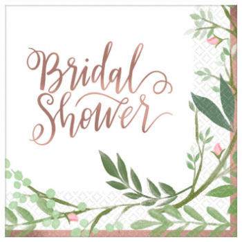 Picture of LOVE AND LEAVES BEVERAGE NAPKINS - 16CT BRIDAL SHOWER