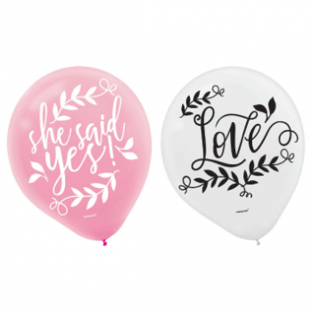 Image de LOVE AND LEAVES LATEX BALLOONS 15PK