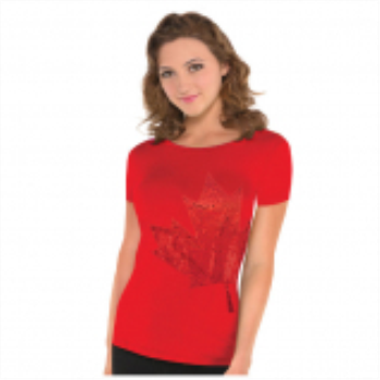 Image de CANADA DAY SEQUIN SHORT SLEEVE SHIRT - ADULT L/XL
