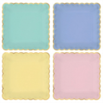 "Image de 7"" PASTEL FOIL SCALLOPED PLATES - 8CT"