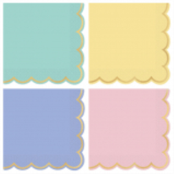 Picture of PASTELS SCALLOPED HOT STAMPED BEVERAGE NAPKINS