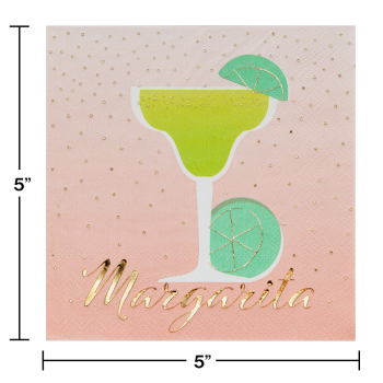 Picture of MARGARITA FOIL STAMPED BEVERAGE NAPKINS