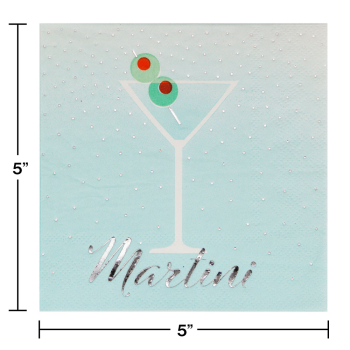 Picture of MARTINI FOIL STAMPED BEVERAGE NAPKINS