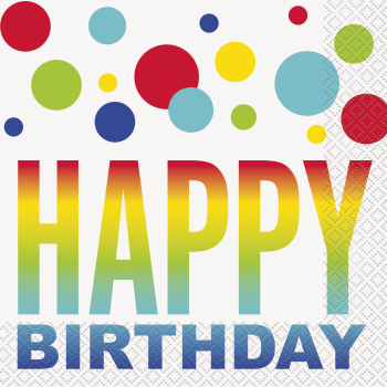 Picture of TABLEWARE - RAINBOW SPOT BIRTHDAY - LUNCHEON NAPKINS
