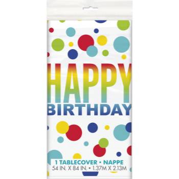 Picture of TABLEWARE - RAINBOW SPOT BIRTHDAY PLASTIC TABLE COVER