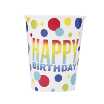 Picture of TABLEWARE - RAINBOW SPOT BIRTHDAY - 9oz CUPS
