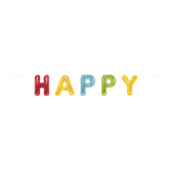 Picture of DECOR - HAPPY BALLOON BIRTHDAY LETTER BANNER - 9'