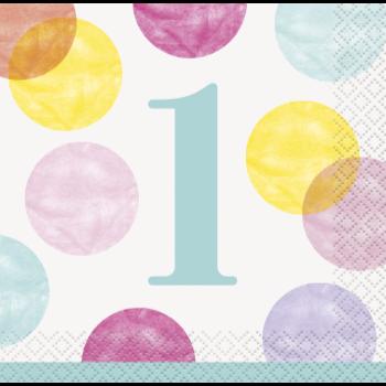 Image de TABLEWARE - PINK DOTS FIRST BIRTHDAY BEVERAGE NAPKINS