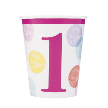 Image de TABLEWARE - PINK DOTS FIRST BIRTHDAY 9oz CUPS