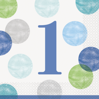 Picture of TABLEWARE - BLUE DOTS FIRST BIRTHDAY LUNCHEON NAPKINS