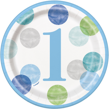 """Picture of TABLEWARE - BLUE DOTS FIRST BIRTHDAY  7"""" PLATE"""