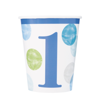 Image de TABLEWARE - BLUE DOTS FIRST BIRTHDAY 9oz CUPS