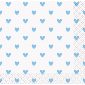 Image de BLUE HEARTS BABY SHOWER BEVERAGE NAPKINS
