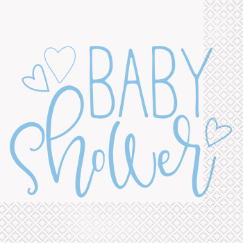 Image de BLUE HEARTS BABY SHOWER LUNCHEON NAPKINS