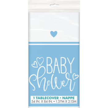 Image de BLUE HEARTS BABY SHOWER PLASTIC TABLE COVER