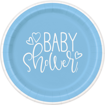 "Image de BLUE HEARTS BABY SHOWER   7"" PLATE"