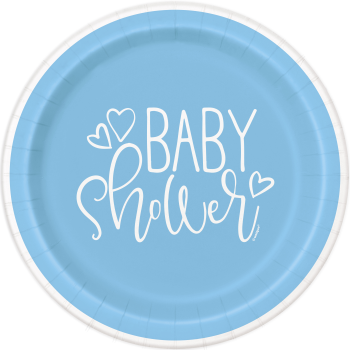 "Image de BLUE HEARTS BABY SHOWER  9"" PLATE"