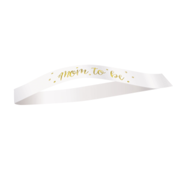 Picture of MOM TO BE SASH - WHITE/GOLD
