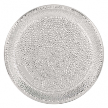 "Image de SERVING WARE - HAMMERED ROUND 16"" TRAY - SILVER"