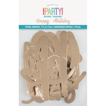 Picture of DECOR - ROSE GOLD SCRIPT HAPPY BIRTHDAY BANNER - 7'