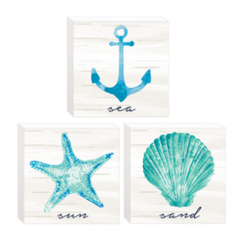 Picture of MINI BLOCK SIGNS - SEA,SAND AND SUN - 3/PK