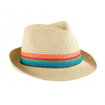 Picture of STRAW FEDORA HAT - COLORFUL STRIPE BAND