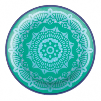 """Picture of BOHO VIBES TURQUOISE 7"""" PLASTIC PLATES - 4CT"""