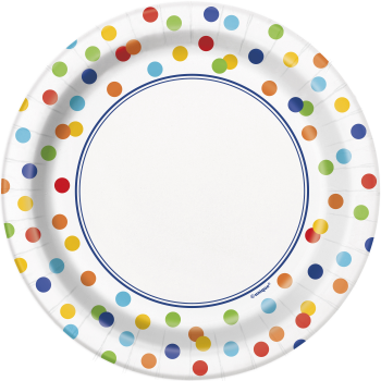 """Picture of TABLEWARE - RAINBOW POLKA DOT - 7"""" PLATES"""