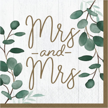Picture of EUCALYPTUS GREENS - LUNCHEON NAPKINS - MRS & MRS