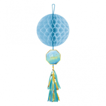 Picture of OH BABY BOY HONEYCOMB DECORATION WITH TASSEL - BOY