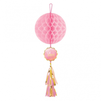 Picture of OH BABY GIRL HONEYCOMB DECORATION WITH TASSEL - GIRL