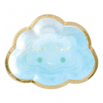 "Image de OH BABY BOY METALLIC 6"" SHAPED PLATES"