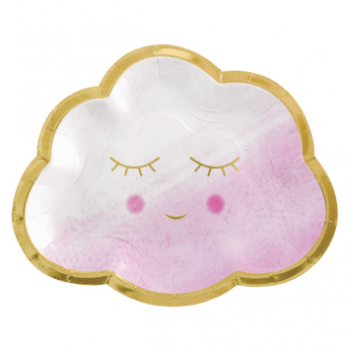 """Picture of OH BABY GIRL METALLIC 6"""" SHAPED PLATES"""