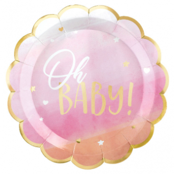 """Picture of OH BABY GIRL METALLIC SHAPED 10.5"""" PLATES"""