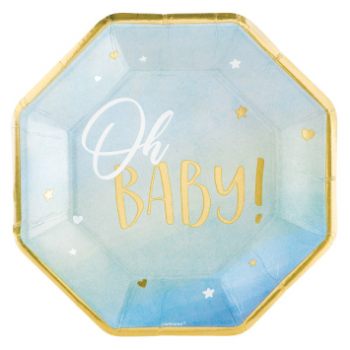 """Picture of OH BABY BOY METALLIC SHAPED 10.5"""" PLATES"""
