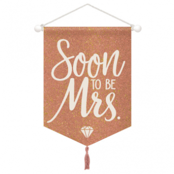Picture of BLUSH WEDDING GLITTER HANGING CANVAS SIGN - SOON TO BE MRS
