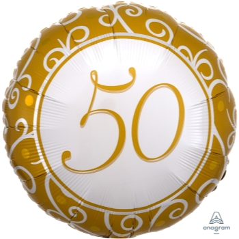 "Picture of 50th - ANNIVERSARY - 18"" FOIL BALLOON"