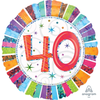 "Picture of 40th - 18"" FOIL BALLOON - RADIANT BIRTHDAY"