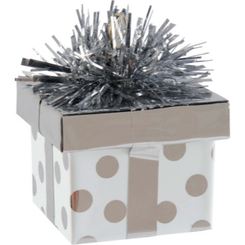 Image de GIFT PACKAGE DOTS BALLOON WEIGHT - SILVER