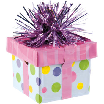 Image de GIFT PACKAGE DOTS BALLOON WEIGHT - PINK